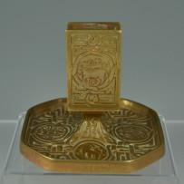 Tiffany Studios Zodiac Pattern Bronze Match Box Holder & Ashtry