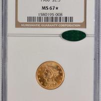 1900 $2 1/2 Liberty Quarter Eagle Gold Coin MS67* CAC Very Rare!