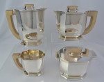 Tetard Freres Sterling Silver Art Deco Tea Set – Image 1