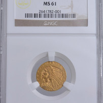 1911-D $2 1/2 Indian Quarter Eagle Gold Coin NGC MS61 *Key Date*