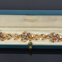 Fabulous Vintage Tiffany & Co Gold, Diamond, Ruby & Aquamarine Bracelet c.1955