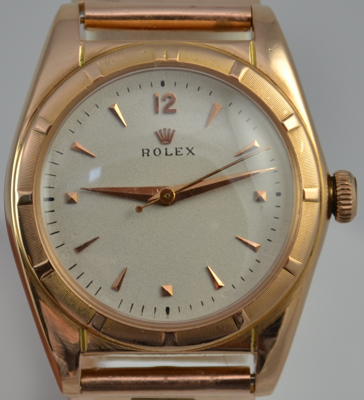 Rolex 18k Rose Gold Bubbleback Watch C 1949 Los Angeles