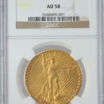 1925-S $20 St. Gaudens Gold Coin NGC AU58
