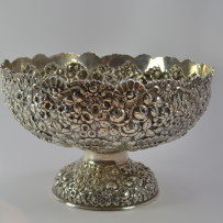 Baltimore Sterling Silver Co. Repousse Sterling Silver Punch Bowl c.1895