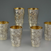 6 Superb Russian Silver Vodka Cups Bogatyr Motif Gold Wash Moscow c.1915