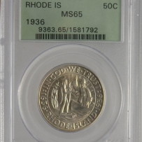 1936 50c RHODE ISLAND COMMEMORATIVE HALF DOLLAR PCGS MS65