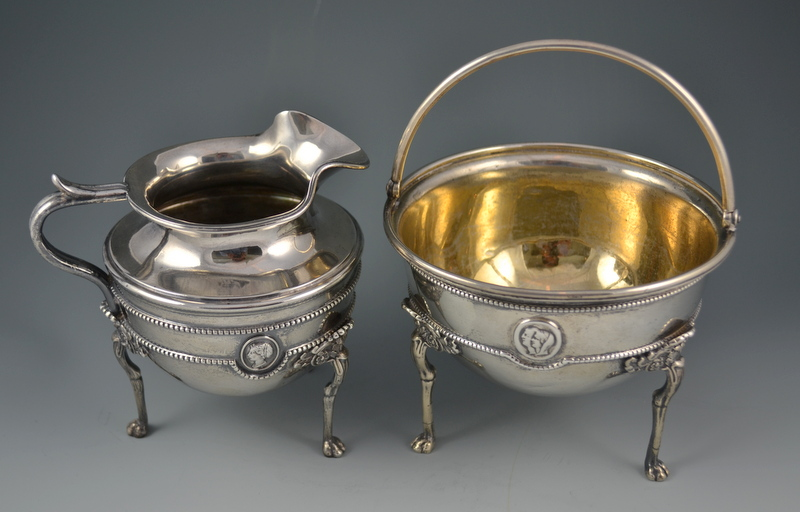 Tiffany & Co Coin Silver Medallion Creamer & Sugar