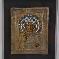 Imperial Russian Silver & Enamel Over Oil on Panel Religious Icon 19th Century