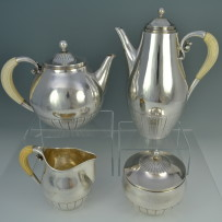 Georg Jensen Cosmos Sterling Silver Tea Set Designed by Johan Rhode c.1930