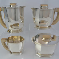Tetard Freres Sterling Silver Art Deco Tea Set 4pc Paris France c.1925