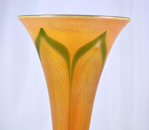 Tiffany Studios Favrile Glass Trumpet Vase C1905 Los Angeles Gold