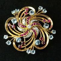 Rare Vintage Tiffany & Co 14k Gold, Diamond, Ruby & Aquamarine Brooch and Earring Set.