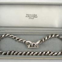 Vintage Hermes Paris Sterling Silver Choker Necklace W/Original Box c.1960's
