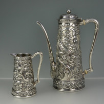 Tiffany & Co Sterling Silver Repousse Chocolate Pot & Creamer c.1890