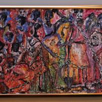 Large Sane Wadu Signed Original Oil on Canvas Painting East Africa Art
