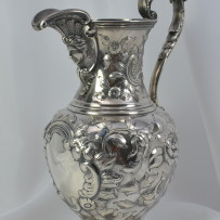 Superb Early American Coin Silver Water Pitcher Newell Harding Boston c.1830