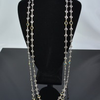 Elegant 72″ David Yurman Sterling Silver, 18k Gold & Blue Topaz Necklace.