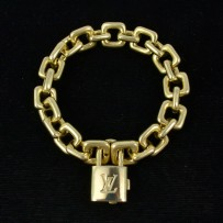 Louis Vuitton 18k Gold Charm Padlock Bracelet