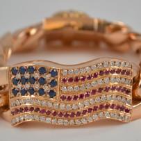 Massive Chrome Hearts 22k Gold Diamond, Ruby & Sapphire American Flag Bracelet